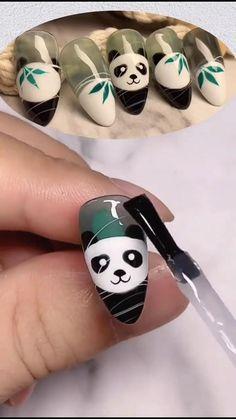 Manicure Nail Designs, Nail Manicure, Chic Nails, Trendy Nails, Pretty Nail Art, Cool Nail Art, Panda Nail Art, Nail Art Techniques, Crazy Nails
