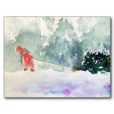 Yoshiko Mishina -Paintings: Christmas is Coming Painted Christmas Cards, Watercolor Christmas Cards, Watercolor Cards, Watercolor Paintings, Watercolor Journal, Watercolor Ideas, Art Paintings, Christmas Is Coming, Christmas Cats