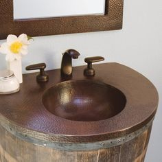 Native Trails Bordeaux Copper Vanity Top - Bathroom vanity top- great combination of beauty and durability, the Bordeaux Copper Vanity Top with integral basin is crafted from recycled copper and hand hammered into functional art. Pair this integral basin copper vanity top with our Bordeaux Wall Mount for a distinctive and charming wine barrel vanity. #copper #nativetrails