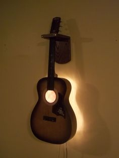 Upcycled Vintage Acoustic Guitar Electric Wall Light w/String  Pick Pull Switch #Harmony #upcycled