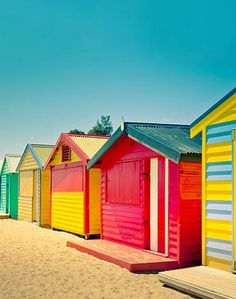 Cute, colorful cottages along the beach.