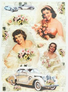 Rice Paper for Decoupage Decopatch Scrapbook Craft Sheet Vintage Wedding Car | eBay