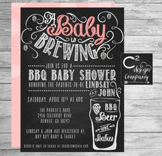 A Baby Is Brewing Chalkboard Shower Invitation