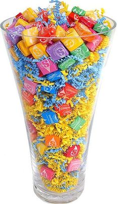 Love this idea. Great for a filler in a candy bouquet using a clear vase