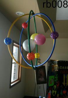 Sonspark labs vbs..atom decoation. Science theme..hula hoops...qiffle balls..balloons
