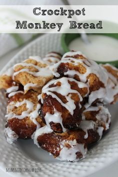 This Crockpot Cinnamon Monkey Bread is so easy to make and will be a delicious weekend breakfast!