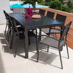Salon de jardin: Table MALAGA 2/3M + 8 fauteuils ANTALYA