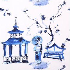 white geisha Asia fabric Michael Miller Pagoda Garden