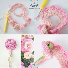yarn-over:  Easy Ranunculus / Erengül- Şakayık free pattern by Aktölye Gülten handmade with love on facebook<<