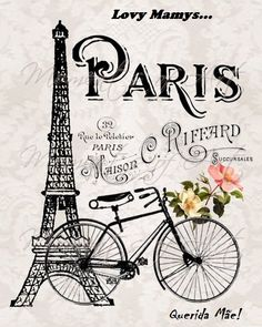 Eiffel Tower and Bicycle & French Parisian Print, French Country Cottage Style, Gray and Black The post Paris France Illustration Art Print Eiffel Tower Bicycle and Flowers Artwork appeared first on Trendy. Vintage Paris, Vintage Retro, Vintage Romance, Vintage Gifts, Vintage Kitchen, French Vintage, Paris Kunst, Paris Art, Torre Eiffel Paris