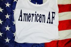 American AF! With navy blue writing by AmyJaneBeauty on Etsy