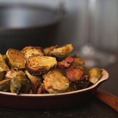 Braised Brussels Sprouts with Cream and Bacon...Ohhh good Lord!  YUM!!!