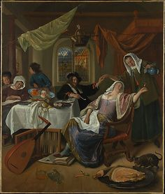 Jan Steen (Dutch, The Dissolute Household, ca. The Metropolitan Museum of Art, New York. The Jack and Belle Linsky Collection, 1982 how I love a house of Jan Steen! Dutch Golden Age, 17th Century Art, Dutch Painters, Historical Art, Dutch Artists, Old Master, Renaissance Art, Rembrandt, Caravaggio