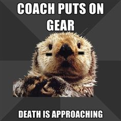 Roller Derby Otter - coach puts on gear death is approaching