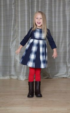 Contrast Pleated Dress - The Dragon and The Rabbit - Leggings available at http://www.thedragonandtherabbit.com/categories/GIRLS/Pants-%26-Jeans/Leggings/
