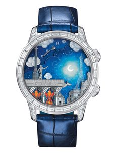 Van Cleef & Arpels Midnight Poetic Wish     One of a pair, this watch depicts two lovers on opposite sides of Paris. The model featured is the male counterpart standing on top of Notre-Dame Cathedral looking toward the Eiffel Tower where his love stands. The white cold case is 43mm adored with baguette-cut diamonds and frames the automata dial enameled on mother-of-pearl.
