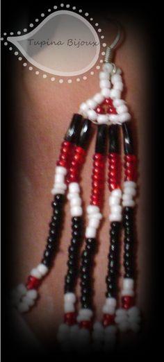Aretes largos de chaquira y canutillos by Tupi'na Bijoux