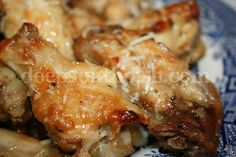 Chicken wings, dipped in a butter and garlic sauce and rolled in seasoned Parmesan cheese.