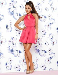 my queen ariana-grande-for-lipsy-bow-back-skater-dress Ariana Grande Outfits, Ariana Grande Lipsy, Ariana Grande Photoshoot, Ariana Grande Fotos, Ariana Grande Pictures, White Skater Dresses, White Halter Dress, White Mini Dress, Pink Dress