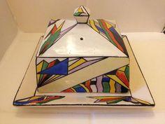RARE T G Green Cornishware Art Deco 'Pharos' Butter Dish   eBay