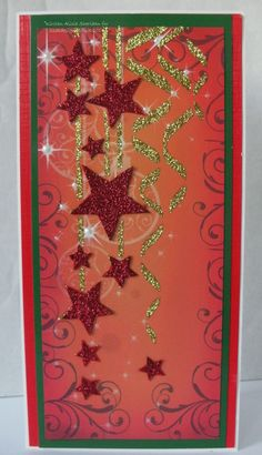 Handmade Christmas card. Imagination Crafts' Sparkle Medium, background paper & stencil.