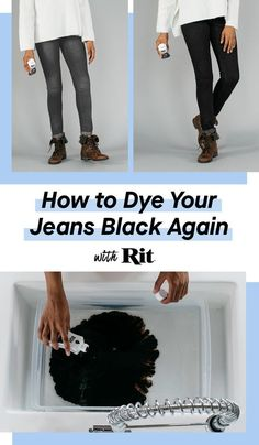 Learn how to make your jeans black again with Rit Dye. Turn an old faded pair of jeans into new with Rit. So easy and simple, you'll love the results! Source by ritdye black jeans Dye Jeans Black, Faded Black Jeans, Fun Craft, Crafty Craft, Crafty Fox, Crafting, Diy Art, Ty Dye, Models