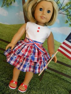 American Girl doll clothes 4th of July dress for by SewCuteJune