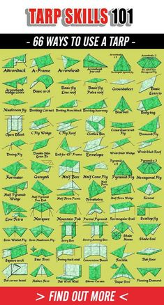 66 Tarp Shelters for all survival situations. From basic to advance Tarp levels 66 Tarp Shelters for all survival situations. From basic to advance Tarp levels Bushcraft Camping, Camping Tarp, Camping Survival, Outdoor Survival, Survival Prepping, Survival Skills, Camping Hacks, Camping Canopy, Survival Gear