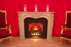 Fulham Palace London | Fireplace surround, fake fire and storm lanterns by www.stressfreehire.com #venuetransformers