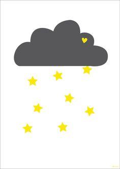 Dibujo de nube y estrellas