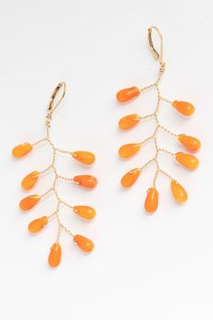 """""""Pumpkin Spice Earrings,"""" anyone? This pair of coral branch earrings in gold by J'Adorn Designs artisan jewelry transitions perfectly from summer to fall! Coral Jewelry, Fall Jewelry, Jewelry Shop, Custom Jewelry, Gemstone Earrings, Bridal Earrings, Statement Earrings, Natural Gemstones, Semi Precious Gemstones"""