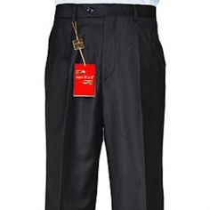 SKU#RY483 Mens Black Single-pleat Wool Dress Pants