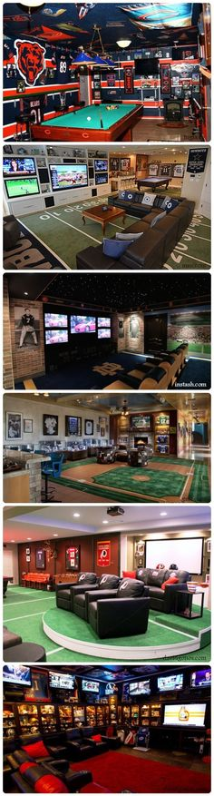 6 Awesome Sports Themed Man Caves. #mancave #sport #decor