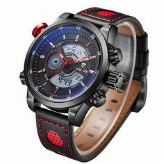 WEIDE Men's Fashion Casual Sports Watch Quartz Digital LED Back Light Military 30m Waterproof Men Watches