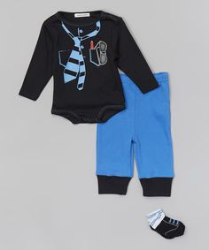 Look at this Black Neck Tie Bodysuit Set - Infant on #zulily today!