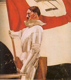 "Nazi ""heroic"" portrait of the Führer by Hubert Lanzinger. Hitler is shown as a medieval knight bearing the Nazi banner. The portrait is entitled ""The Flag Bearer"". Note: the deformity on the face is from the portrait being stabbed at the end of WWII. Medieval World, Medieval Knight, Degenerate Art, Nazi Propaganda, Banner, The Third Reich, Middle Ages, In This World, Poster"