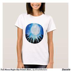 Shop Full Moon Night Sky Forest Abstract Art T-Shirt created by KivahKailani.
