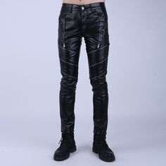 Skinny Slim Fit Black Leather Motorcycle Biker Pants for Guys Mens Leather Pants, Leather Jackets, Biker Pants, Sport Wear, Black Leather, Menswear, Slim, Skinny, Guys