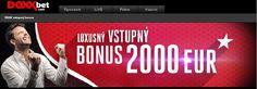 100% Bonus z prvého vkladu až do výšky 2 000 EUR vkladu jedine v Doxxbet. http://www.hracie-automaty.com/novinky/luxusny-vstupny-bonus-v-doxxbet #HracieAutomaty #Doxxbet #Novinka #Vyhra #vstupnybonus