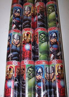 1 Roll of Superhero Holiday Gift Wrap Paper 70 sq ft - World of Action City Wrapping Papers, Gift Wrapping, Spiderman, Batman, Christmas Wrapping, Voss Bottle, Captain America, Holiday Gifts, Rolls