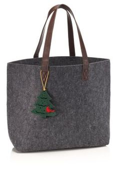 Grey Felt Holiday Tote Bag with Tree Ornament