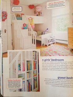 Loft bed with bookcase staircase: via hgtv magazine
