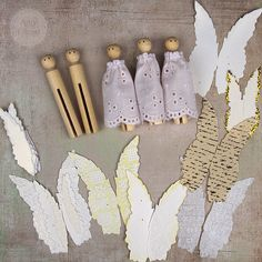 Homemade angel ornaments using wooden dolly pegs as the base. You can now get these easily online. Christmas Ornament Crafts, Christmas Angels, Christmas Projects, Kids Christmas, Handmade Christmas, Holiday Crafts, Christmas Decorations, July Crafts, Birthday Decorations