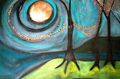 """Mo Kelly; Acrylic, Painting """"Enchanted Dusk"""""""