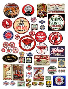 1:18 VINTAGE GARAGE SIGNS 3 DECALS FOR DIECAST & MODEL CAR DIORAMAS