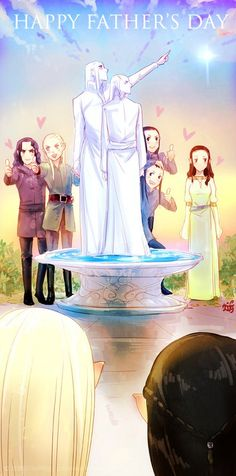 The elf children (and Aragorn) surprising Thranduil and Elrond for Father's Day. :)