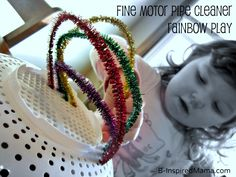 Use pipe cleaners and a standard kitchen tool for some fun rainbow play to help your toddler or preschool child practice fine motor skills and coordination!