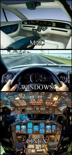 If OS was a car, Mac: looks cool, but only a 3d mould, Windows: simple and usible, Linux... Wtf does this button do?