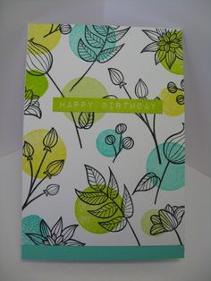 Striped Floral, Label Love: Altenew, also circle stamps, Kate on Flicker - One Layer circle stamps under focus Cool Cards, Diy Cards, Karten Diy, Altenew Cards, Leaf Cards, Scrapbooking, Card Making Inspiration, Tampons, Watercolor Cards