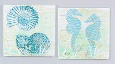 Set of 2 Seahorse & Nautilus Canvas   OceanStyles.com
